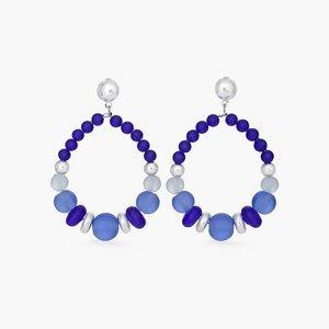 Chico's Mary Blue Beaded Drop Hoop Earrings